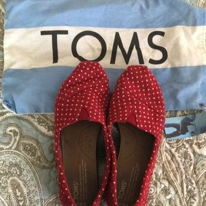 Toms: red w/white dots